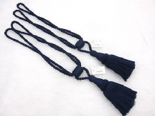 2 Navy blue curtain tassel tie backs Traditional rope & tassle crafted tiebacks